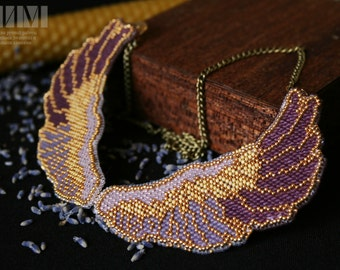 Embroidery beaded necklace 'Lavender Wings'