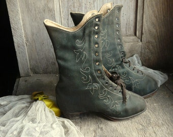 antique silk embroidered child toddler boots shoes