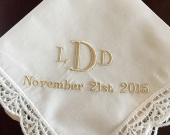 Bride wedding handkerchief monogram