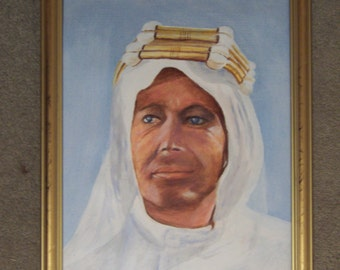 """Original Framed Oil painting of Peter O Toole as Lawrence of Arabia  32 cm x 40 cm (12"""" x 15"""")"""