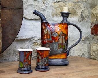 Pottery set - Earthen pitcher and mugs, Pottery bottle, Water bottle, Brandy bottle, Ceramic set, Pottery mugs, Pottery handmade