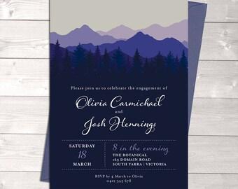 Engagement invitation, mountain invitation, wedding invitation, trees, blue purple, digital customised printable