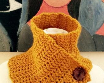 Mustard yellow scarf. Neck warmer. Mustard cowl with wooden button.