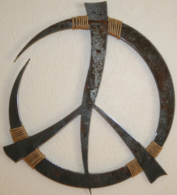 Rustic Metal Peace Sign Wall Decor 13 custom recycled