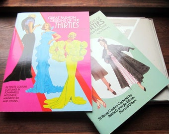 2 Vintage Paper Doll Books, Tom Tierney Paper Doll Books, 1930's 1940's Designer Clothes and Accessories, Dover Publication, Fashion Art