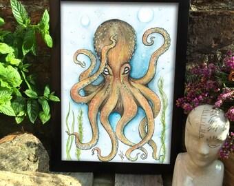 Poulpe impression - impression sous-marine - sealife impression - pieuvre de couleur imprimer - cadeau unique idée - illustration de la pieuvre - oeuvre