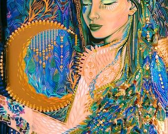 Moon Goddess Art Print 5x7 and 8x10