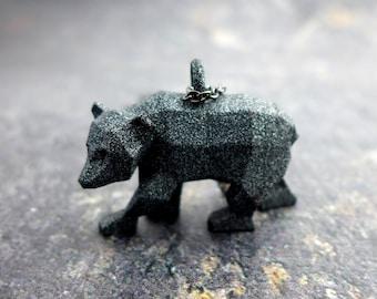 Geometric Bear Pendant - Polygonal Animal Jewelry - Bear Jewelry - Grizzly Bear - 3D printed animal - Nature Jewelry - Origami