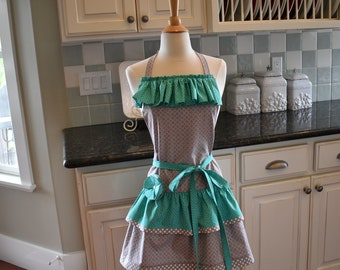 """Blueberry Days ~  READY TO SHIP  """"Ellie Style""""  Double Ruffle Women's Apron""""   4RetroSisters Aprons"""