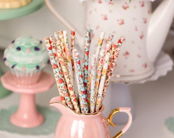 Floral Bouquet -Floral Straws -Party Supplies -Bridal Shower -Wedding -Tea Party -Garden Party -Shabby Chic *Girl Party -Pink Party Supplies