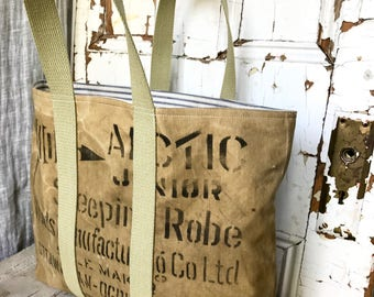WOODS - reconstructed vintage duffle tote bag