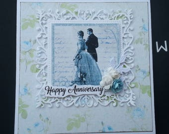 Doves Happy Anniversary Handmade Card celebrate green