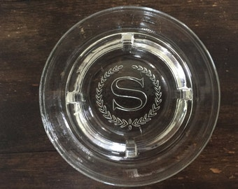 "Vintage Glass Sheraton Hotel Ashtray / ""S"" Ashtray / Travel / Motel/ Inn / International"