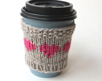 Wool Coffee Sleeve, Gift for Her, Hot Pink Cup Cozy, Reusable Cup Collar, Knitted drink cozy, Valentines Day, small gift, Mom heart gift