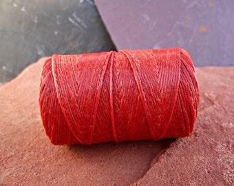 4 Ply Rust Waxed Irish Linen Thread 10 Yd WL5,waxed linen thread,rust linen thread,orange linen thread,bookbinding thread,4 ply linen thread