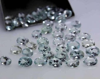 7x5MM, Natural Sky Blue Aquamarine Gemstones Lot, AAA+ Natural Aquamarine, AAA++ Top Quality Great Color, Oval Shape Faceted Loose Gemstone.
