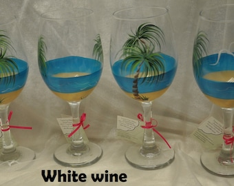 Tropical Palm Beach wine glasses, set of 4