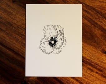 Simple Flower Ink Print