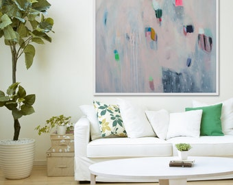 """large abstract PRINT of Painting, Giclée print with pink blush, cream and blue.  """"The Wheel"""""""