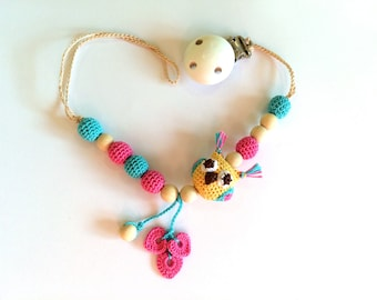 Pacifier clip with toy, Dummy chain with teething toy, Pacifier chain, holder with baby toy, Gift, owl, Natural toy, Stroller chain holder