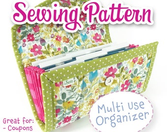 PDF SEWING PATTERN - Accordion Style Cash / Coupon / Expense / Receipt Organizer - Instant Download Flexible Use diy Customizable