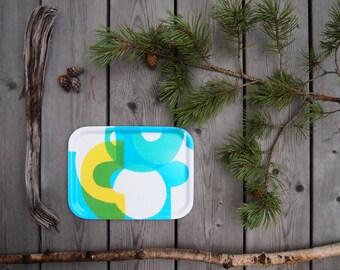 Birch Wood Breakfast Tray in Blue