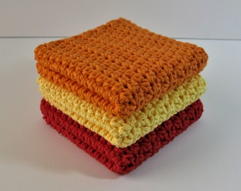 Crochet Dishcloths, Crochet Washcloths, Crochet Dishcloth Set, Cotton Dishcloths, Dish Cloth, Kitchen Dishrags, Mother's Day, Housewarming