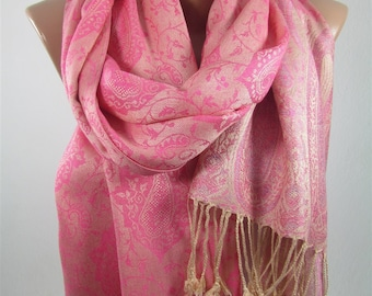 Pashmina Scarf  Pink Scarf Shawl Girlfriend Gift  Fashion Accessories Pink Wedding Scarf Bridesmaids Gifts Mothers Day Gift For Women DERINS
