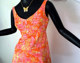 Groovy Vintage 70s OWL Mini Dress 1970s MOD Hippie Hippy Boho Dress Orange Pink Yellow All Cotton Sleeveless Summer Hawaiian Dress Small