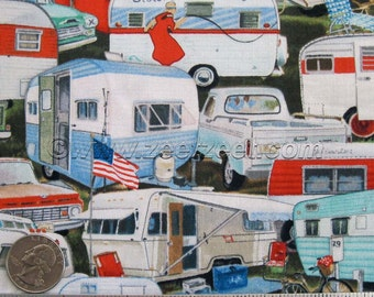 Sister's VINTAGE TRAILERS Multi Trailer Camp Camping Retro Cotton Quilt Fabric - by the Yard