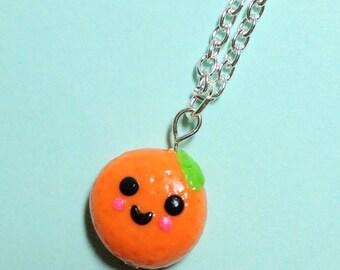 Kawaii Orange Charm Necklace Miniature Fruit
