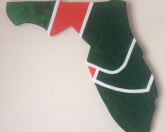 Florida shape with Miami Hurricanes