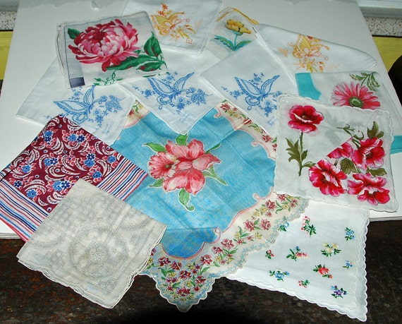 13 HANDKERCHIEFS w/3 Blue BUTTERFLIES FLORALS, Raised Cut Work, Hand Stitched, Multi-Color, Assorted Vintage Linen Exc Condition,
