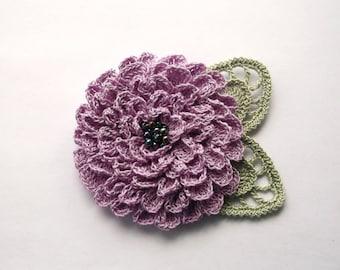 lilac crochet flower brooch, lilac crochet brooch, flower brooch, handmade, crochet pin, accessory,corsage,wedding,mother of the bride.
