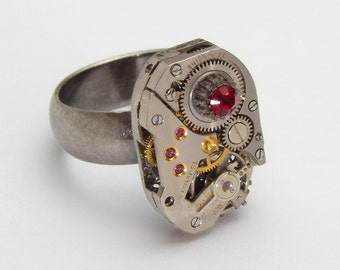 Steampunk Ring vintage watch movement gears ruby red Swarovski crystal silver adjustable Statement Cocktail ring band Steampunk jewelry 1577