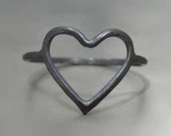 Heart ring - Romantic Jewelry - Love ring - Love jewelry - Oxidized silver ring - Heart jewelry