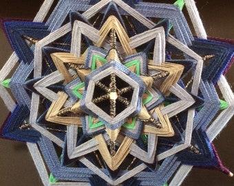 Blue Star - 12 pointed star mandala (god's eye / ojo de dios)  - 11.5 inch/29 cm