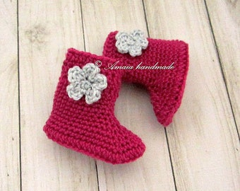 Crochet baby booties, Pink baby booties, Ankle boots crochet, Newborn ankle boots, crochet shoes, crochet baby shoes, Boots for baby