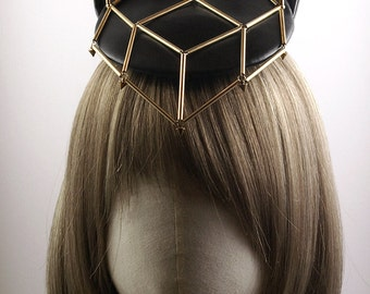 Black PU Leather Fascinator with Metal Cat Ears