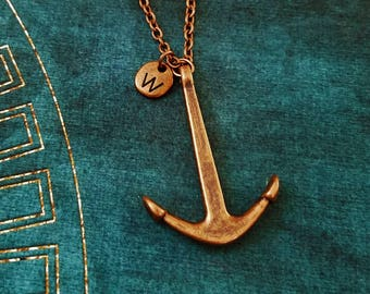 Anchor Necklace SMALL Anchor Jewelry Copper Anchor Pendant Necklace Anchor Charm Necklace Long Distance Relationship Gift Travel Jewelry