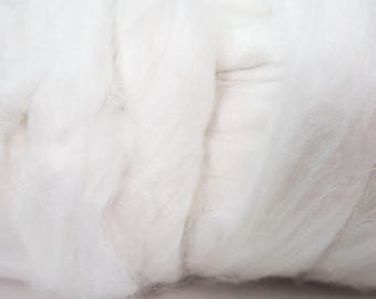 50g White Pearl Fibre Top, Wet Felting, Nuno Felting, Spinning, Knitting, Weaving, Felting Supplies, Textile Arts