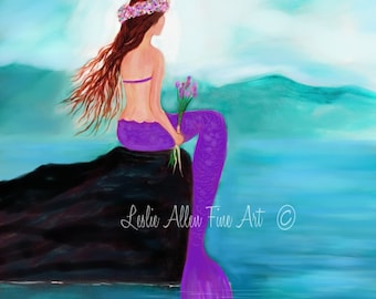 "Mermaid ART PRINT GICLEE Mermaids Young Girl Room Decor Beach Theme Mermaid Wall Decor Art  ""Young Pretty Mermaid"" Leslie Allen Fine art"