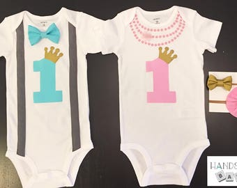 Twins First Birthday Bowtie Necklace Bodysuits Gold, Cake smash, Prince, Princess