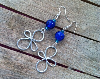 Silver Wire Wrapped Earrings with Blue Glass Beads ER-011615-01