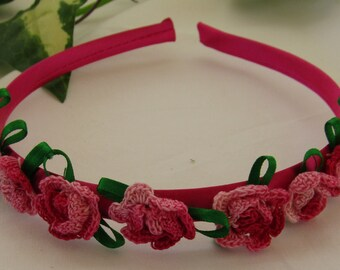 Pink Satin Head Band Decorated with Variegated Red Roses Green Ribbon