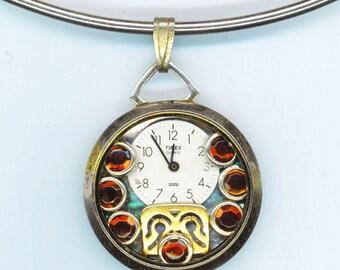 Steampunk Watch Face Pendant . Rhinestones . Steampunk Industrial Victorian Gothic - Cinderella Watch by enchantedbeas on Etsy