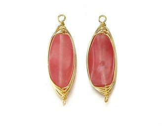 Cherry Quartz Gemstone Connector . Jewelry Craft Supplies . 16K Polished Gold Plated over Brass  / 2 Pcs - DG007-PG-CQ