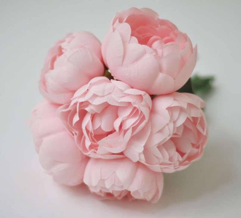 6pcs Silk Peonies Blush Pink Peonies Light Pink Bridesmaid