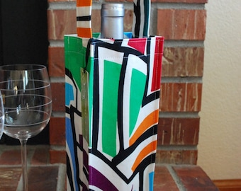 Wine Tote Bag / Carrier / Cozy - Multicolored Modern Canvas Fabric