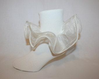 Girls Ivory Nylon Socks with Ivory Organza Ruffle Tasia by Socks For A Princess